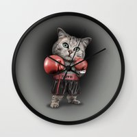 boxing Wall Clocks featuring BOXING CAT by ADAMLAWLESS