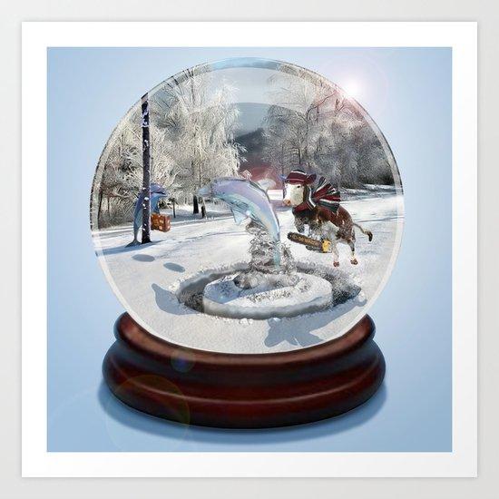 Blue Christmas Globe Art Print