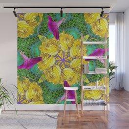 MYSTIC YELLOW ROSES MORNING GLORIES GREEN ART Wall Mural