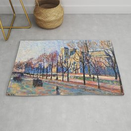 View of Notre Dame from the Quay Montebello by Maximilian Luce Rug