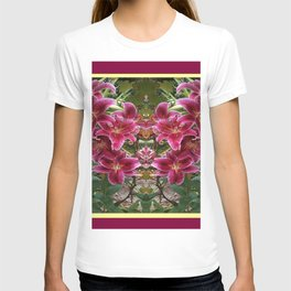 BURGUNDY ASIAN LILIES FLORAL MODERN ART T-shirt