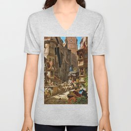 The Arrival Of The Stagecoach - Carl Spitzweg Unisex V-Neck