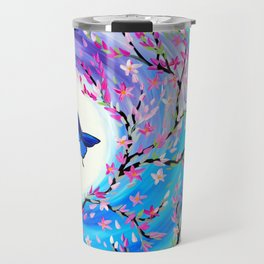 Butterflies with aqua, blue, green and purple Travel Mug