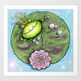 Frog Prince on His Lily Pad Art Print