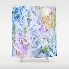 Soft Rainbow Floral Abstract Shower Curtain