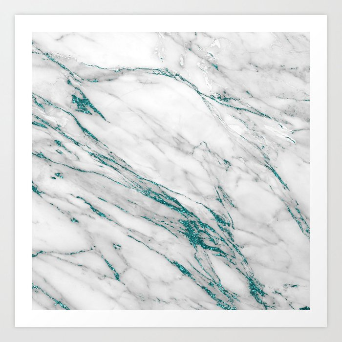 Gray Marble Aqua Teal Metallic Glitter Foil Style Art