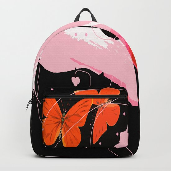 Creativity play - butterflies and flowers on a black background Backpack