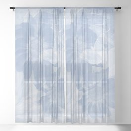 Delicate white butterflies and denim blue flowers in abstract fractal Sheer Curtain