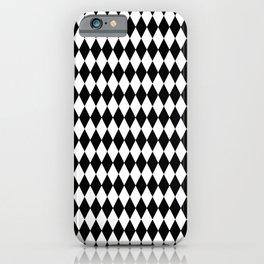 Black and White Harlequin Wonderland Pattern C15 Alice in Illustration iPhone Case