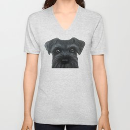 New Black Schnauzer, Dog illustration original painting print Unisex V-Neck