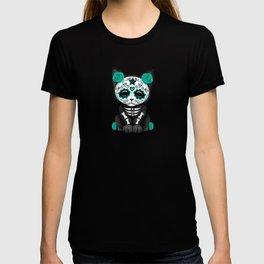 Cute Teal Blue Day of the Dead Kitten Cat T-shirt