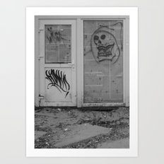 Death's newspaper booth Art Print
