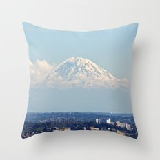 Hovering Mt Rainier Throw Pillow