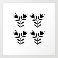Double Flower Pattern Art Print
