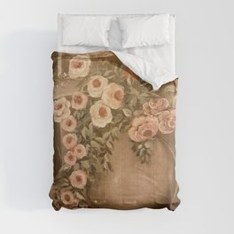 Pink white brown wall painting floral  Comforters