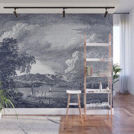 Hudson River and Catskills, Rich Navy and Crisp White Wall Mural
