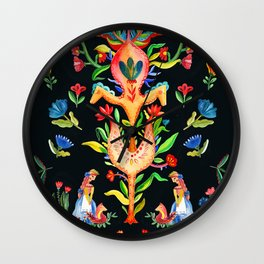 Folk Flower dance Wall Clock