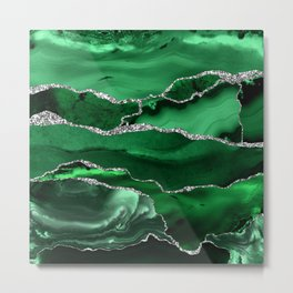 Glamour Emerald Bohemian Watercolor Marble With Silver Glitter Veins Metal Print