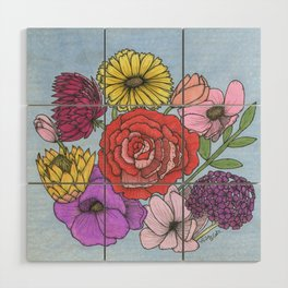 Floral Bouquet Wood Wall Art