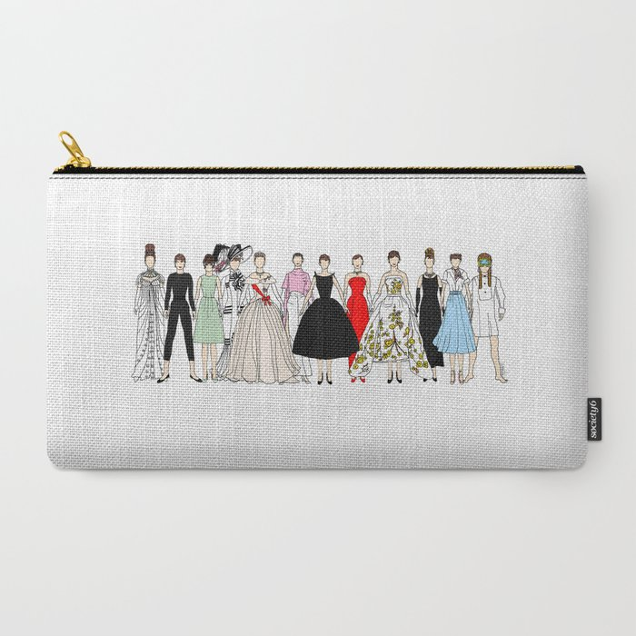 Outfits of Audrey Hepburn Fashion (White) Carry-All Pouch