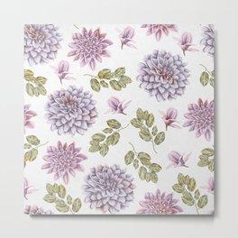 Lavender Rose Garden Floral Pattern Metal Print