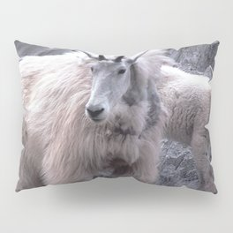 Magnificent Mountain Goat & Baby on Cliff's Edge Pillow Sham