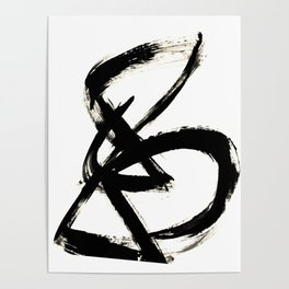 Brushstroke 3 - a simple black and white ink design Poster