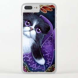 LOVELY TUXEDO PERSIAN MERMAID CAT BY THE REEF Clear iPhone Case