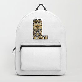 Northwest Pacific Coast American Native Totem Letter L Backpack