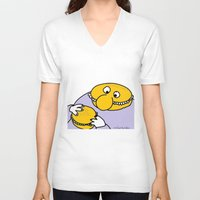 eat V-neck T-shirts featuring Eat Eat by wof!