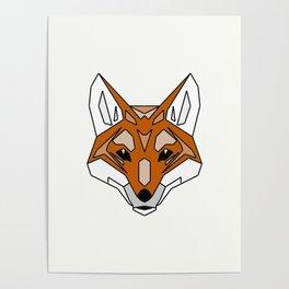 Geometric Fox - Abstract, Animal Design Poster