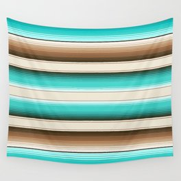 Teal, Brown and Navajo White Southwest Serape Blanket Stripes Wall Tapestry