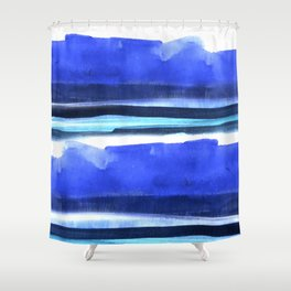 Wave Stripes Abstract Seascape Shower Curtain