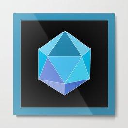 Blue Icosahedron. Metal Print