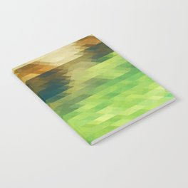 Green yellow triangle pattern, lake Notebook
