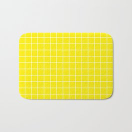 Canary yellow - yellow color - White Lines Grid Pattern Bath Mat