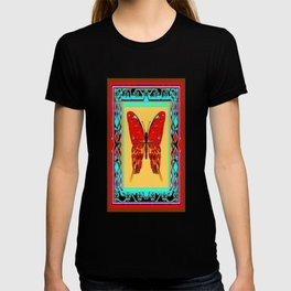 Southwestern Style Design With Red-gold Swallow Tail Butterfly T-shirt