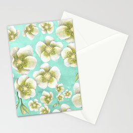 Blue, yellow and white flowers Stationery Cards