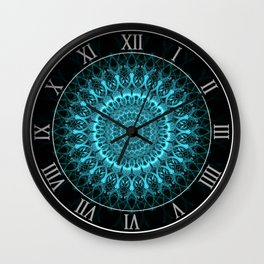 Light blue ornamnted mandala Wall Clock