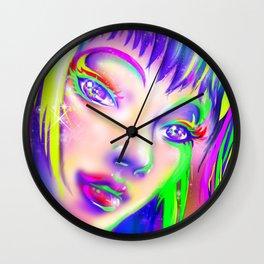 rainbow colorful girl Wall Clock
