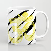 om Mugs featuring OM by Rebecca Bear