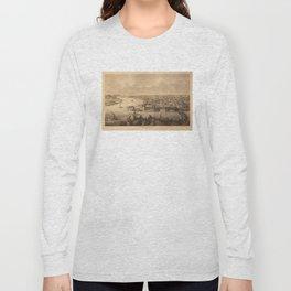 Vintage Pictorial Map of Parkersburg WV (1861) Long Sleeve T-shirt