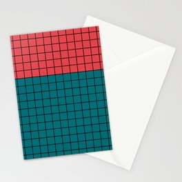 Red turquoise  plaid Stationery Cards