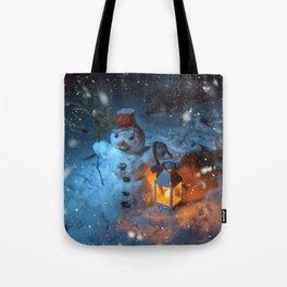 Snowman at night Tote Bag