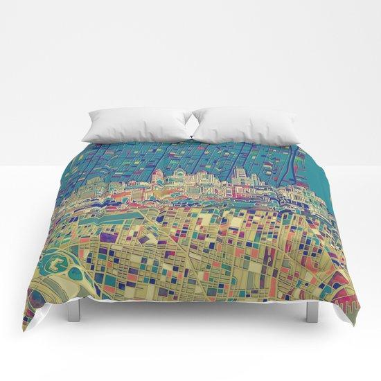philadelphia city skyline map Comforters
