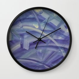Blue coloured abstract acrylic painting Wall Clock