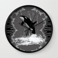 orca Wall Clocks featuring Orca by nicky2342