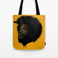 tupac Tote Bags featuring Questlove 2.0 by The Art Warriors