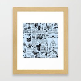 Da Vinci's Anatomy Sketchbook // Light Blue Framed Art Print