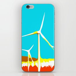 wind turbine in the desert with blue sky iPhone Skin